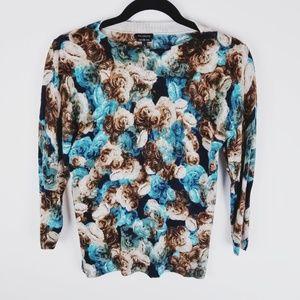 Talbots teal brown floral merino wool sweater smal